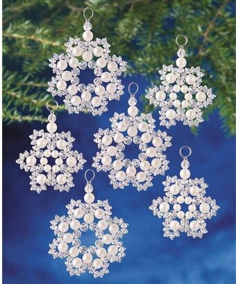 The Beadery Crystal And Pearl Snowflakes Beaded Christmas