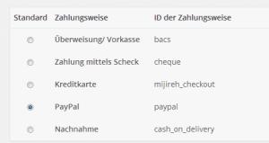 WooCommerce Standard Zahlungsweisen