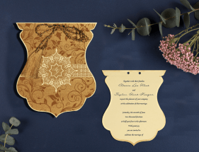 SHIMMERY FLORAL THEMED WEDDING INVITATIONS- IN-8229O- 123WeddingCards