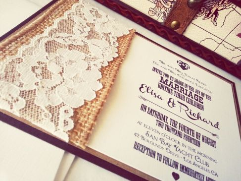 Burlap and lace inspired wedding invitation printable