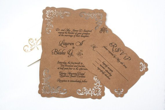 Elegant laser cut lace over Kraft paper wedding invitations