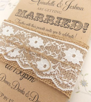 Ribbon world rustic wedding invitations