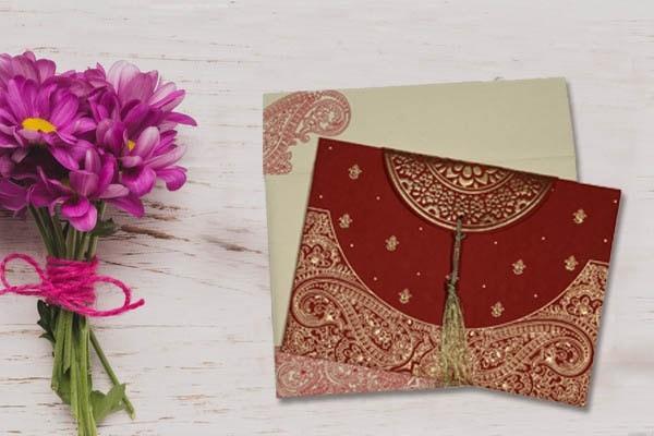 Red Handmade Embossed Wedding Invitations- 123WeddingCards