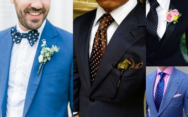 Polka Dot Wedding Suits Idea for Men
