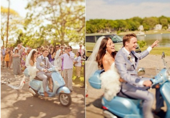 bride-and-groom-on-vespa-scooter | 123WeddingCards