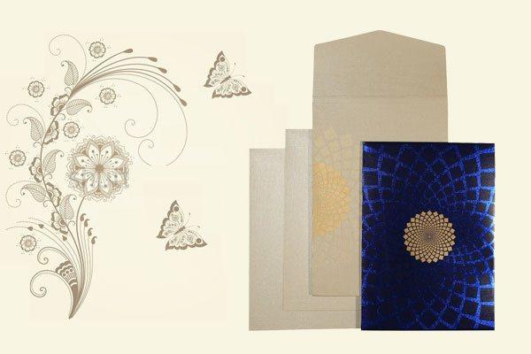 Blue Wedding Card   123WeddingCards