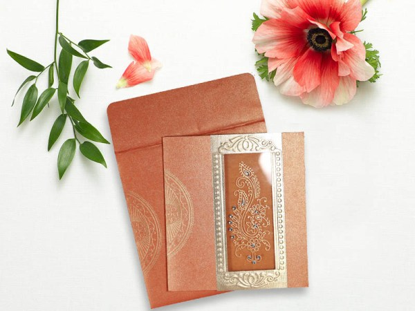ORANGE SHIMMERY PAISLEY THEMED - FOIL STAMPED WEDDING INVITATIONS IN-8230T