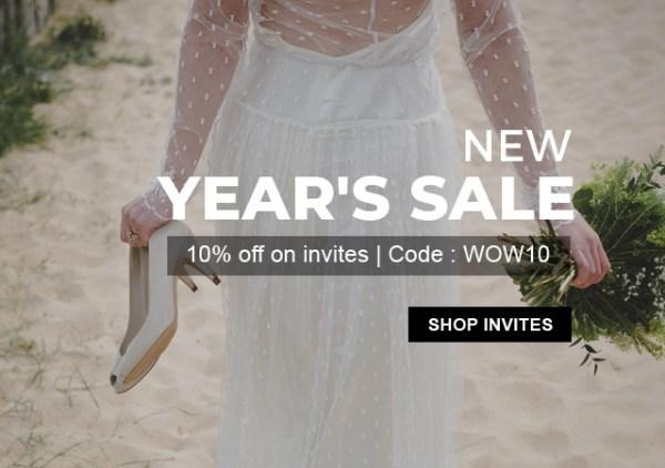 New year sale Flat 10% discount on wedding invitations - 123weddingcards.com