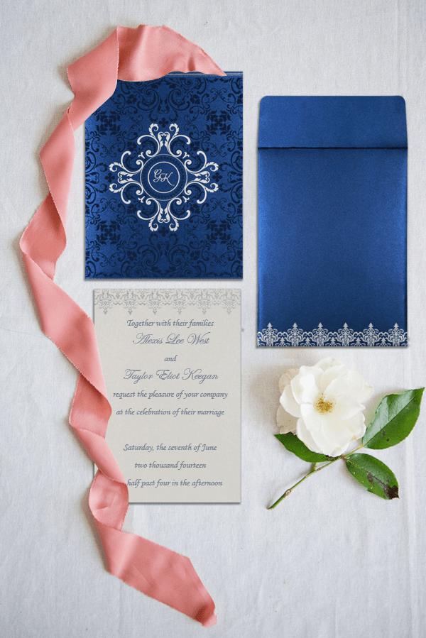 Blue Shimmery Wedding Invitations - IN-8244-K- 123WeddingCards