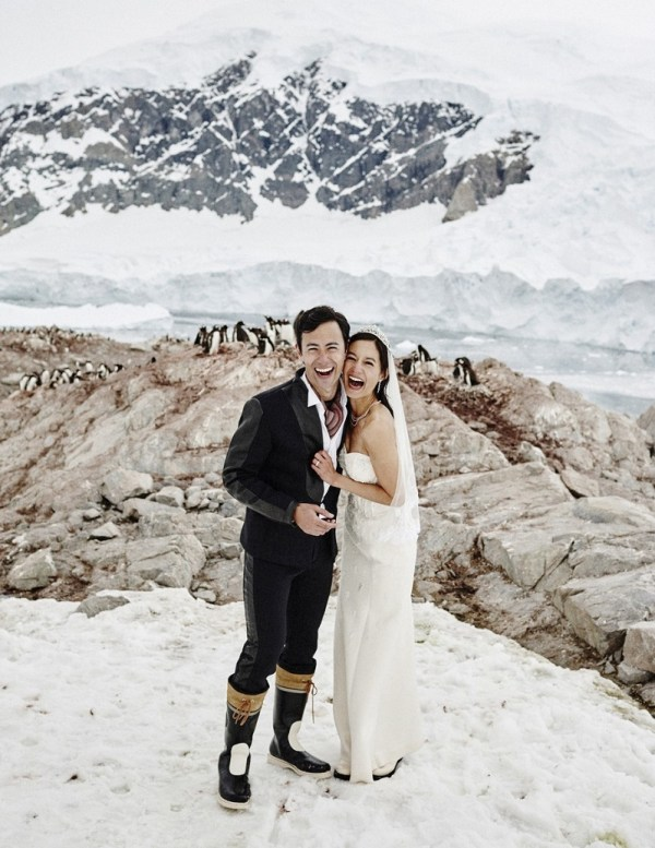 couple marry on Scott Island, Antarctica