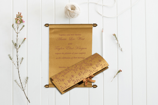 GOLD HANDMADE SHIMMER WEDDING INVITATION SC-5007G from 123WeddingCards
