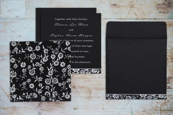 BLACK MATTE FLORAL THEMED Wedding Invitation-123WeddingCards