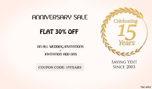 15th Anniversary Offer 30% Off at 123WeddingCards