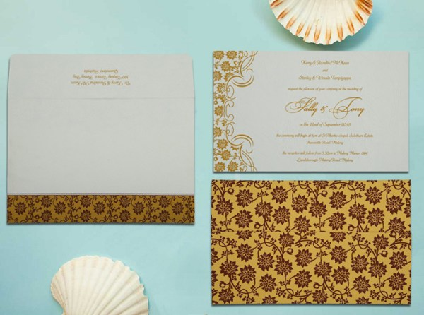 YELLOW MATTE FLORAL THEMED - SCREEN PRINTED WEDDING INVITATION W-810C - 123WeddingCards