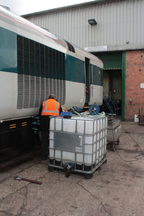 41001 is seen at Ruddington having a coolant change