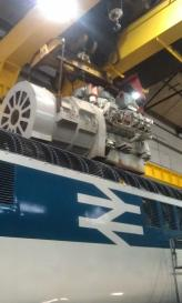 'Sectioned' Paxman Valenta S183 removed from 41001 prior to freshly overhauled S508 being placed in.