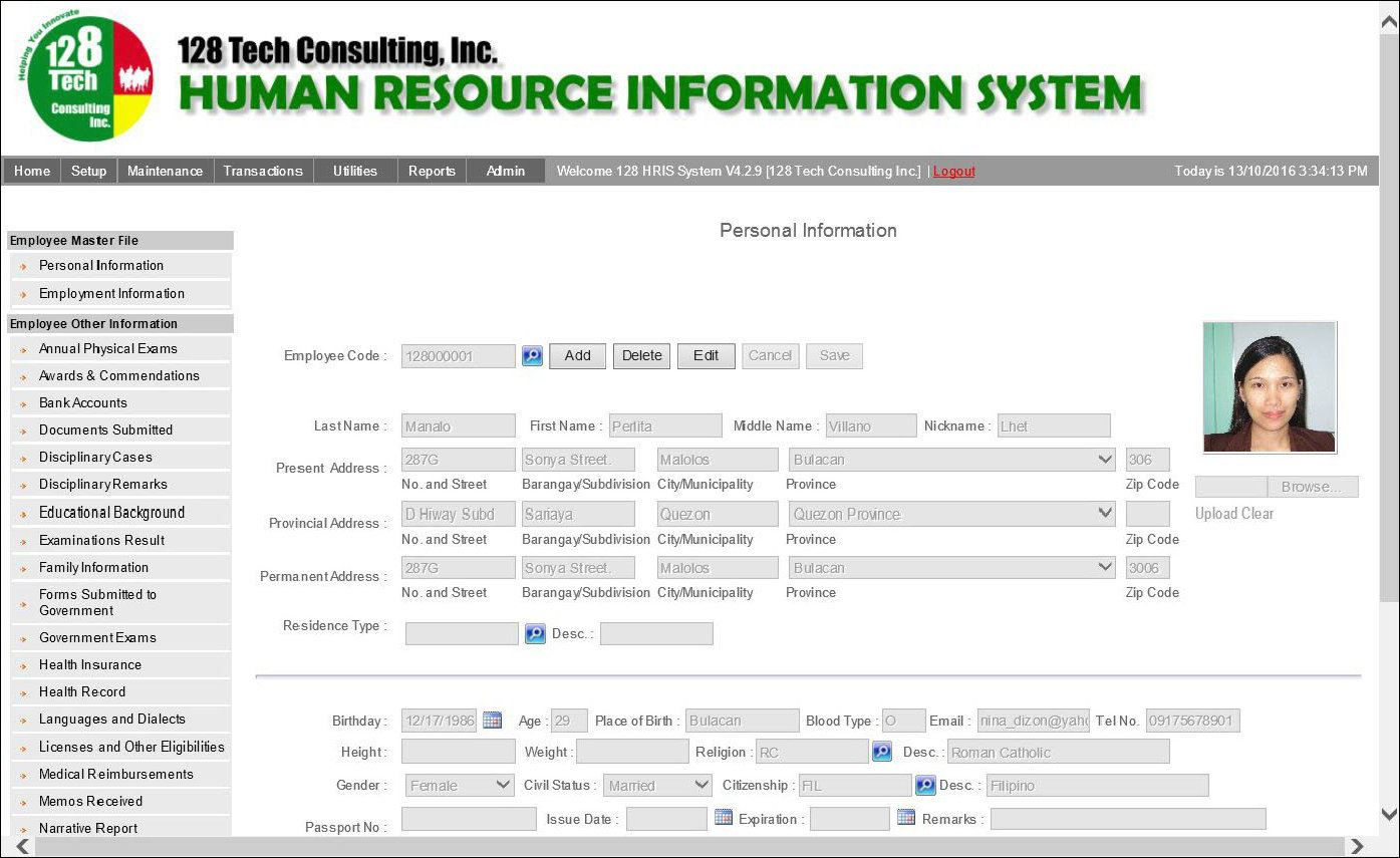 HR INFORMATION SYSTEM  128 TECH CONSULTING INC