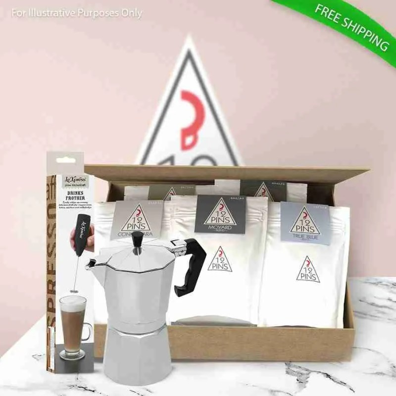 12 Pins Coffee Gift back with Moka Pot and Milk Frother