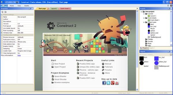 Interfaz Construct 2