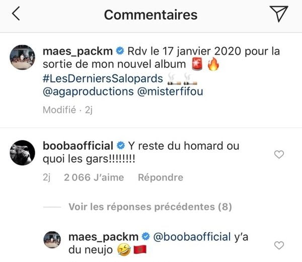 Booba déçu de ne pas être sur l'album de Maes ? Il s'adresse à lui sur Instagram !