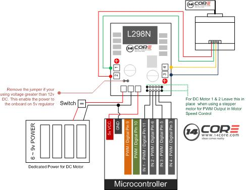 4 wire dc motor connection diagram ford 8n 12v conversion wiring using l298n h bridge with stepper motors on arduino 14core com driving pin out
