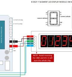 8bit 7segment max7219 led tube moduel arduino pinout  [ 1402 x 690 Pixel ]
