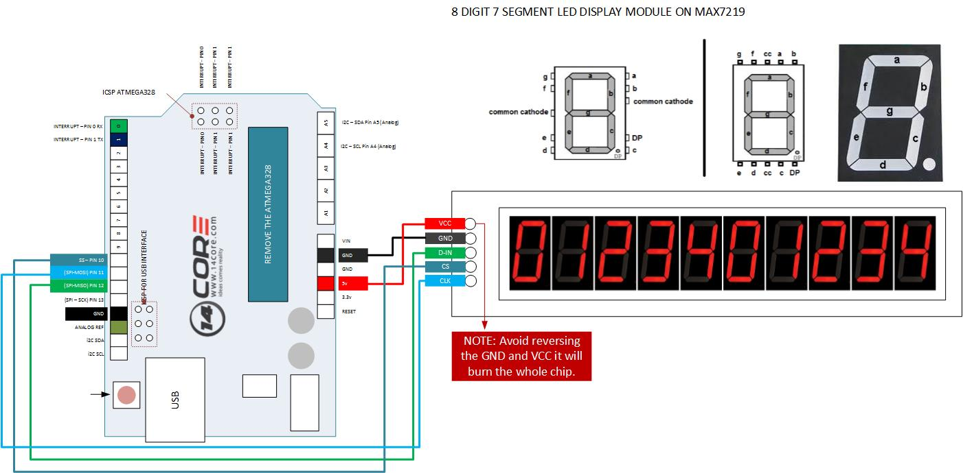 hight resolution of 8bit 7segment max7219 led tube moduel arduino pinout