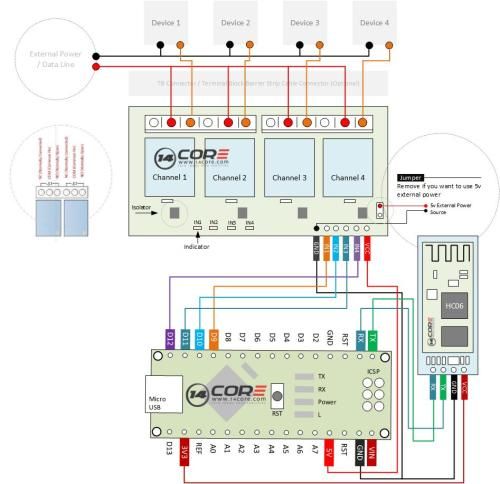 small resolution of wiring the bluetooth hc06 4 channel relay switching with arduino uno circuit diagram maker arduino uno r3 circuit diagram