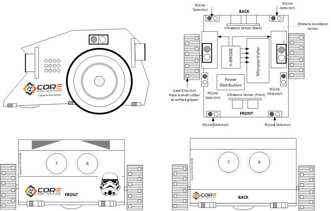 14CORE Mini Sumo Robot with Multi-senors on Arduino