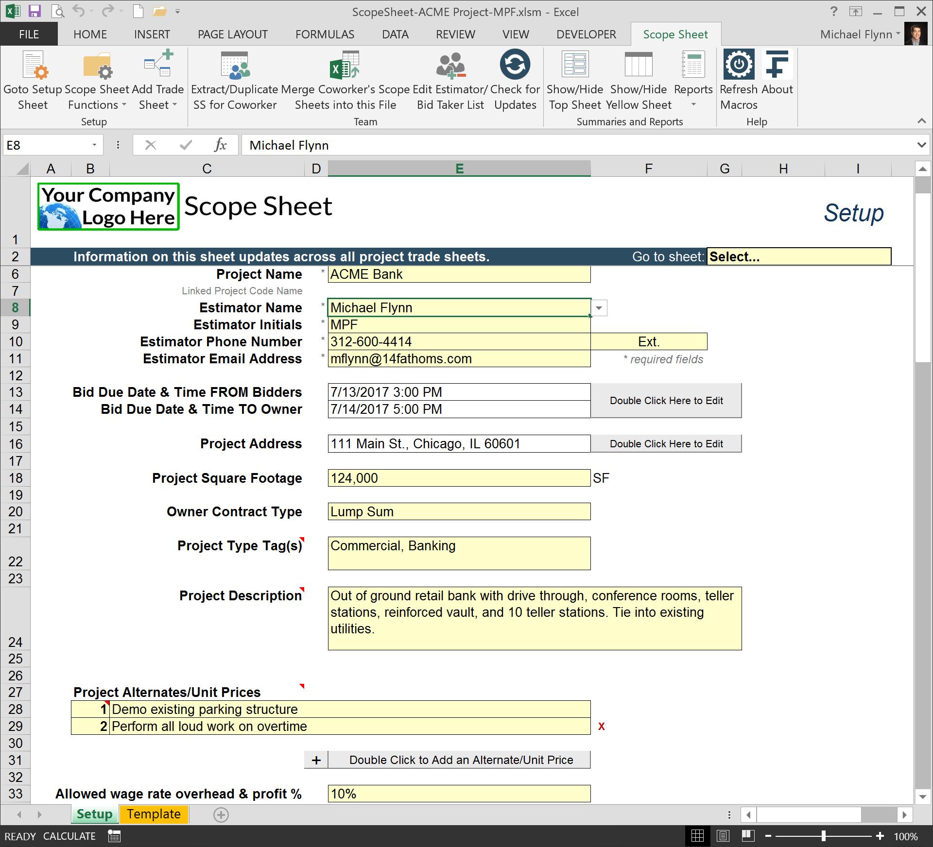 Excel Scope Sheet