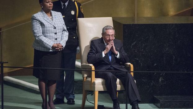 El presidente cubano, Raúl Castro, en la Asamblea General de Naciones Unidas. (UN Photo/Amanda Voisard)