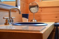 Maine pottery sink in first floor bathroom