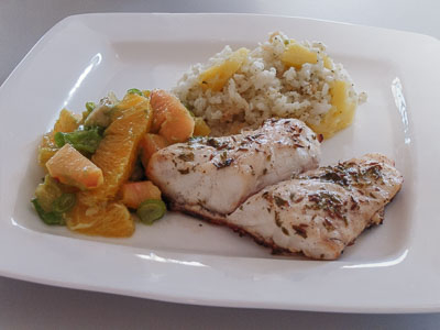 Red snapper with orange-avocado salsa and coconut rice