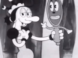 Fig. 9-10: Fleischer selectively combines recognizable elements from the original fairytale about Snow White and some arbitrary, self-invented gags.