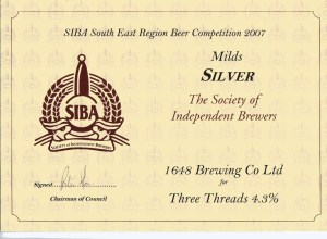 Three Threads won SIBA South East Silver for Mild 2007.