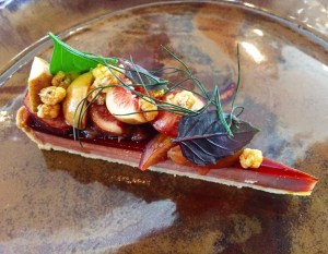 chicken liver tart with figs, corn nuts and herbs