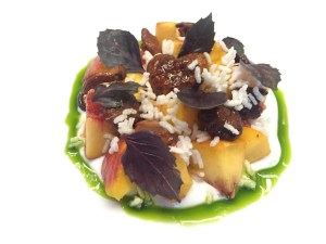 Peach, chanterelle, basil, Charleston gold rice