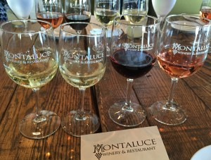 Tasting whites, reds and rosés at Montaluce Winery.