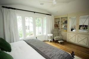 Jena incorporated lots of large windows in the master bedroom so she could enjoy views of the backyard.