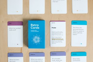 A pack of Retro Cards, which Poe and Rainey created as a tool to help assess the effectiveness of projects