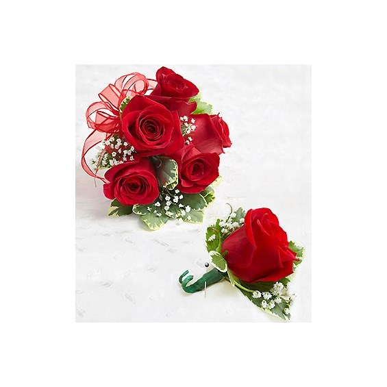 1800Flowers Red Rose Corsage And Boutonniere  1800