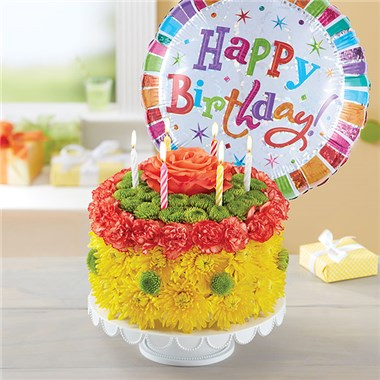 1 800 FLOWERS BIRTHDAY WISHES FLOWER CAKE YELLOW Seattle WA