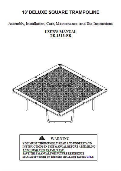 Manual for the 13' SPORTSPOWER Trampoline Model TR-1313-PB