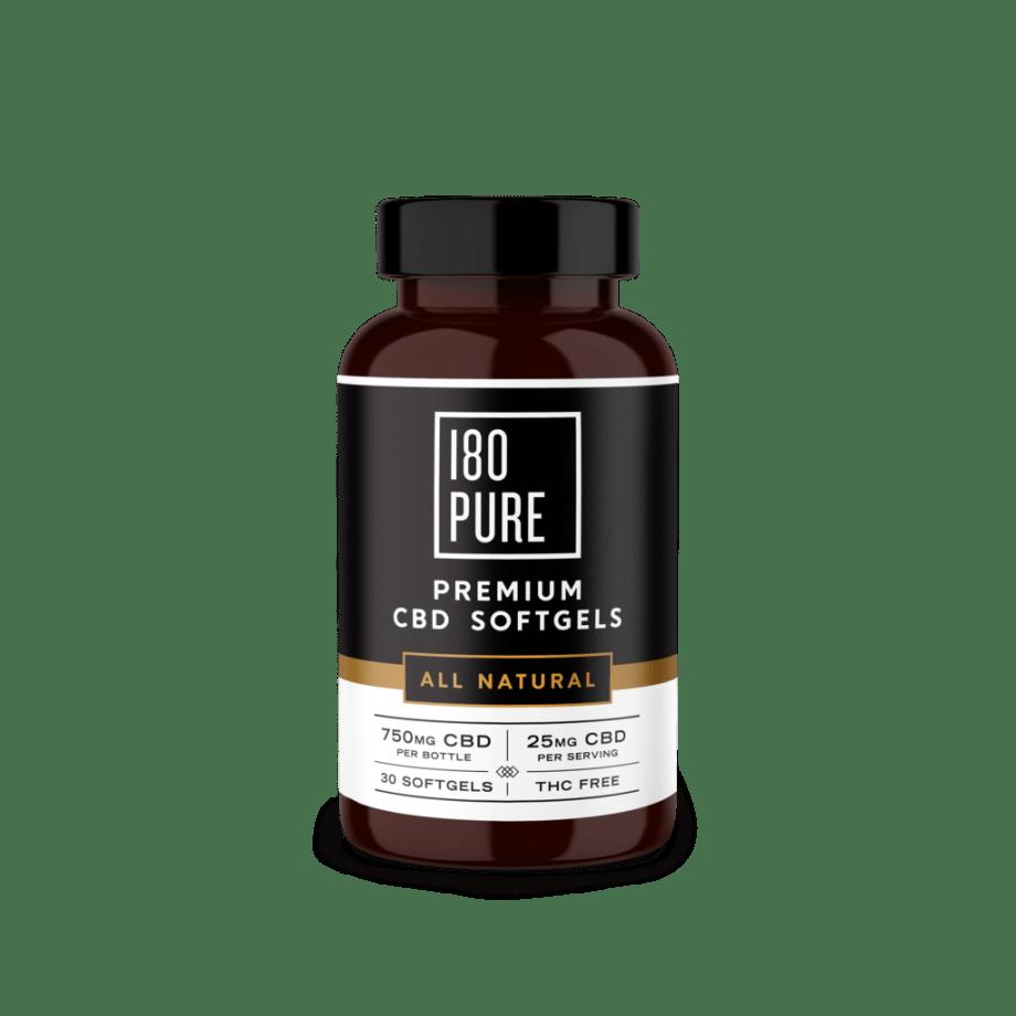 180Pure Premium CBD Softgels All Natural