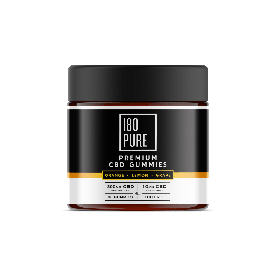 180Pure CBD Premium CBD Gummies Orange Lemon Grape