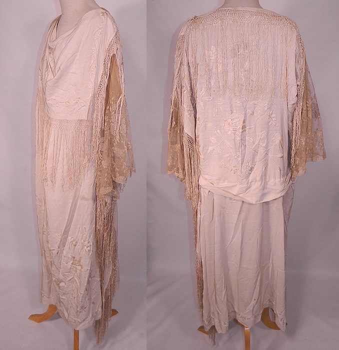 Vintage Cream Silk Embroidered Piano Shawl Fringe Lace