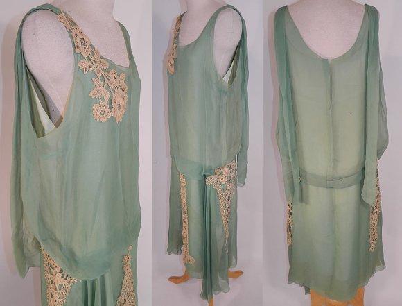 Vintage Mint Green Silk Chiffon Lace Applique Rhinestone Trim Drop ...