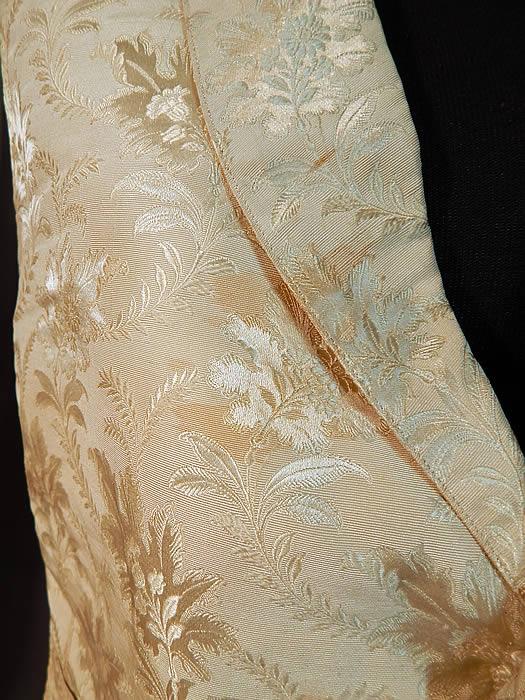 Victorian Gentlemans White Silk Damask Floral Brocade