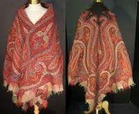Victorian Antique Kashmir Hand Woven Pieced Paisley Shawl
