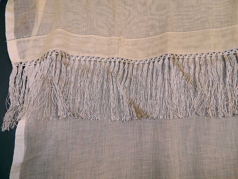 Victorian Antique Point De Venise Lace Floral Bird Net Fringe Drapery Curtain Panel